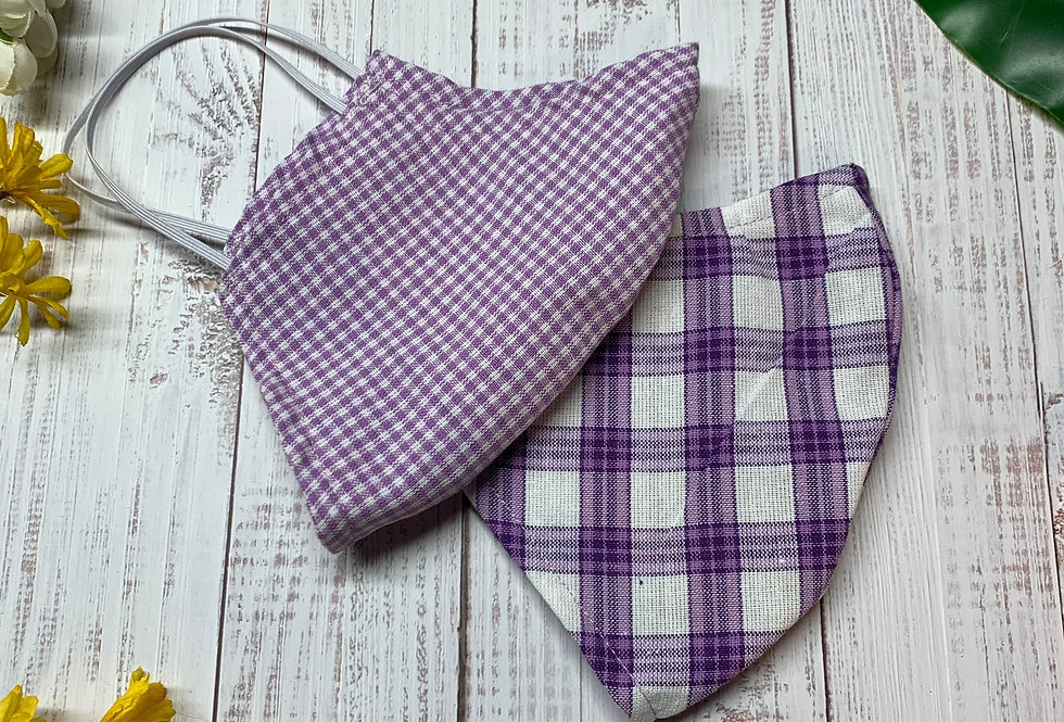 Purple and White Gingham Plaid Face Mask With Filter Pocket and Nose Wire, Washa