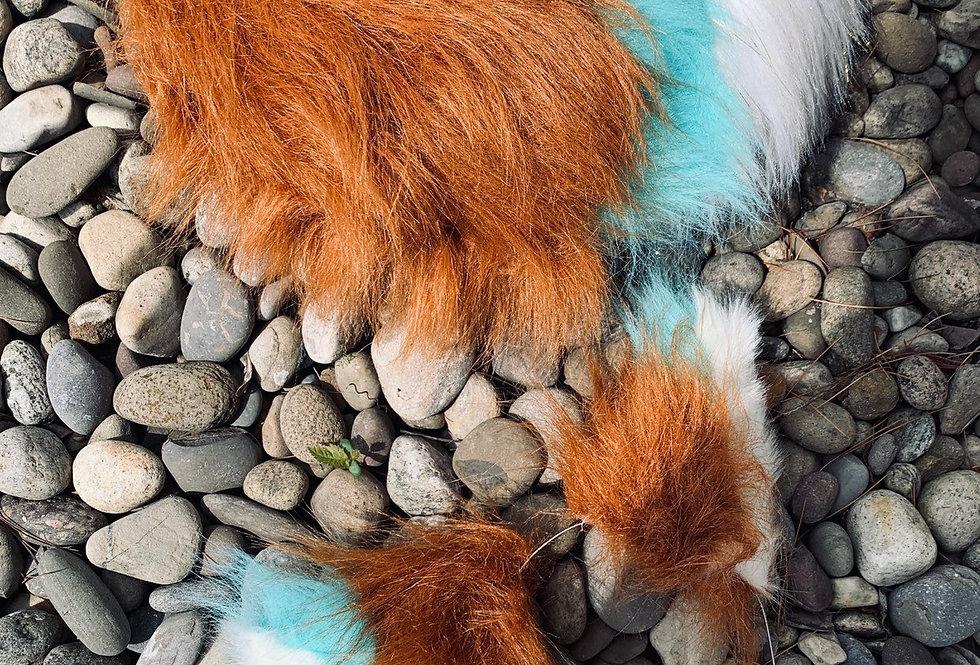 Rust & Aqua Puppy Tail and Ear Set
