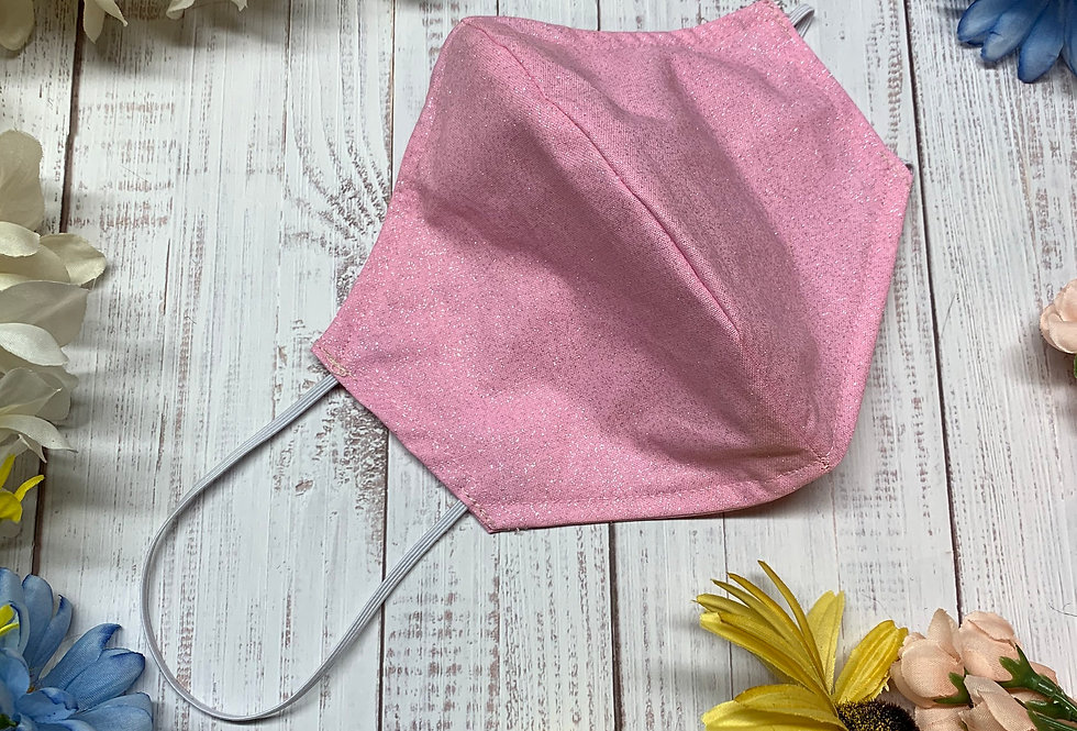 Sparkle Pink Face Mask with filter pocket and nose wire, Reusable Washable Face