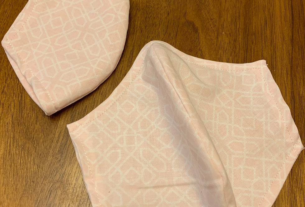 Light Pink Face Mask With Filter Pocket and Nose Wire, Reusable Face Mask, Cotto