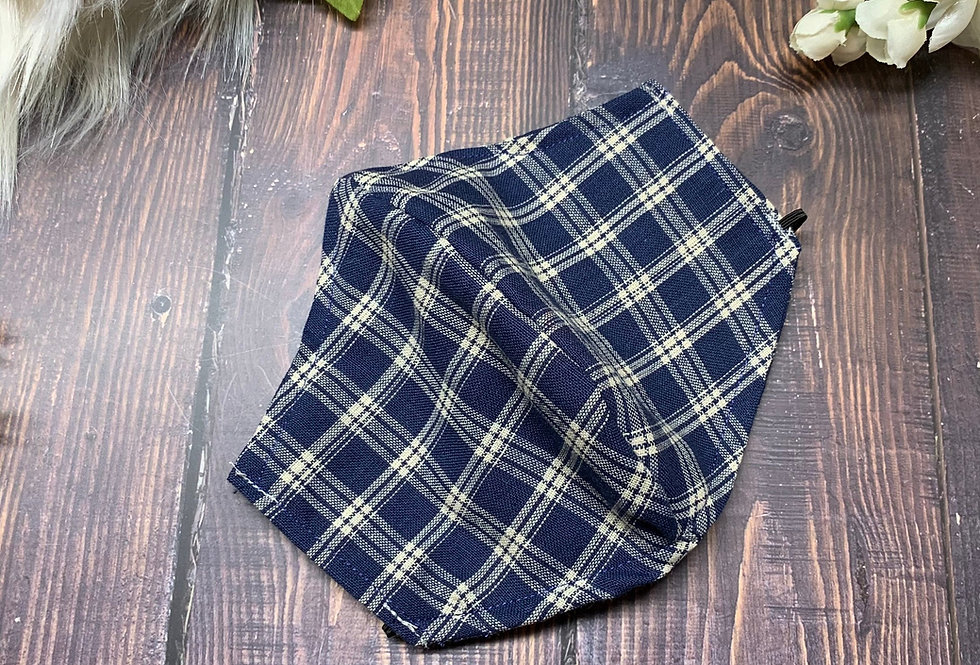 Navy Blue Gingham Plaid Face Mask With Filter Pocket and Nose Wire, Washable and