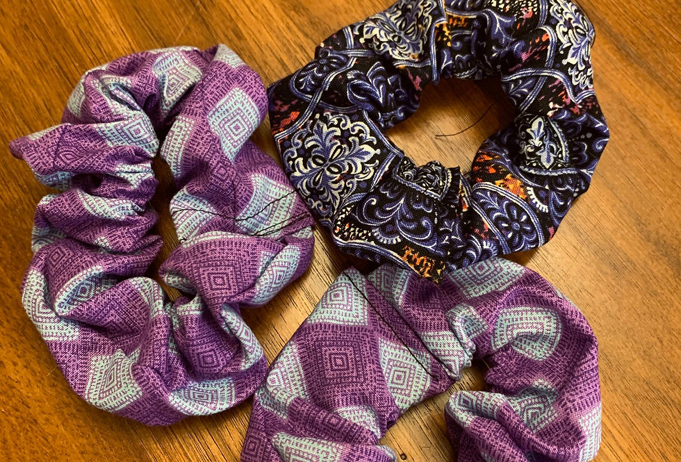 Blue and Purple Scrunchies: Variety