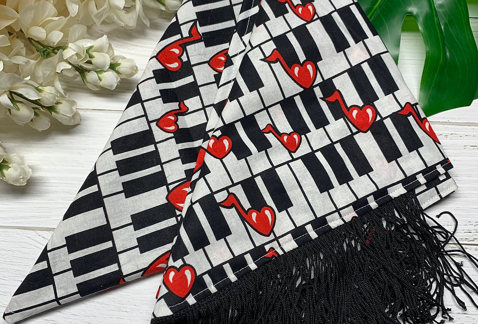 Love and Music Fursuit Bandana with Black Fringe, XL Bandana