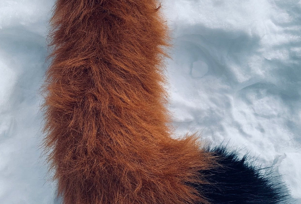 Medium Red Fox with Black Tip Furry Tail
