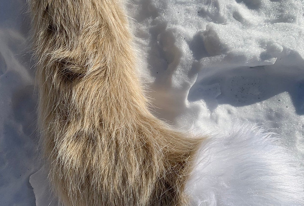 Realistic Natural Beige and White Fox Tail