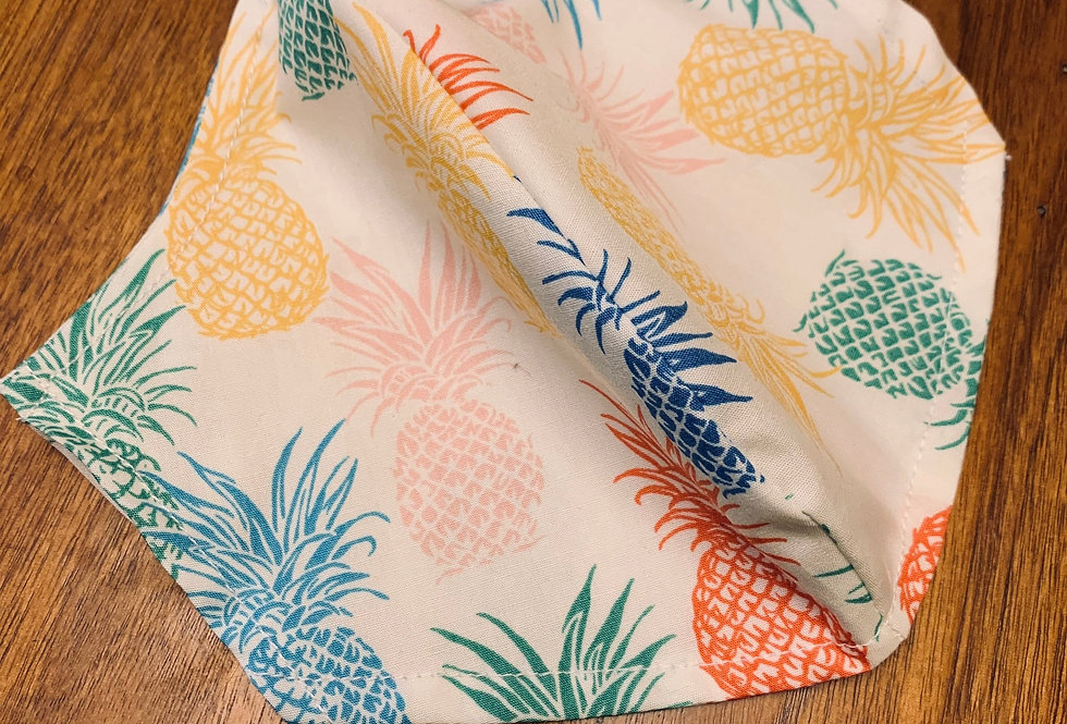 Tropical Pineapple Face Mask with Filter Pocket and Nose Wire, Reusable Washable