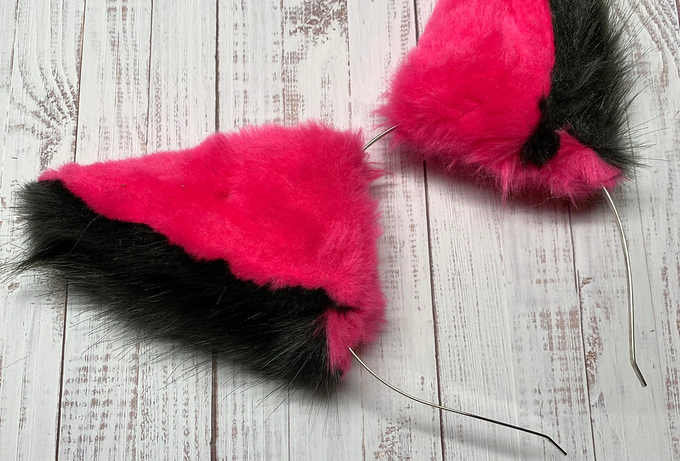Hot Pink and Black Dragon Ears