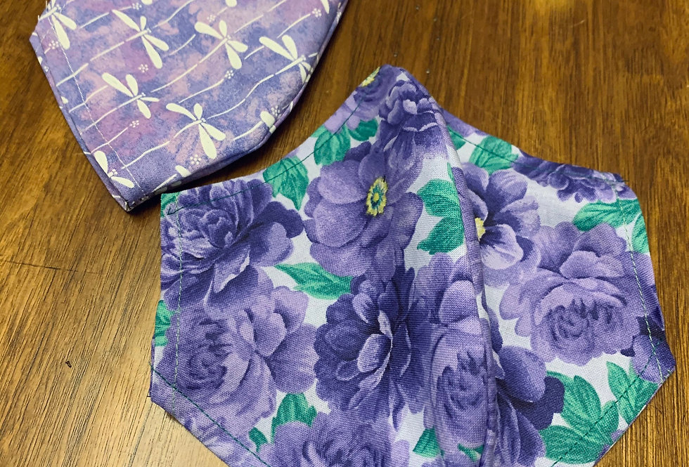 Purple Floral Face Mask With Filter Pocket and Nose wire, Washable Cotton Face M