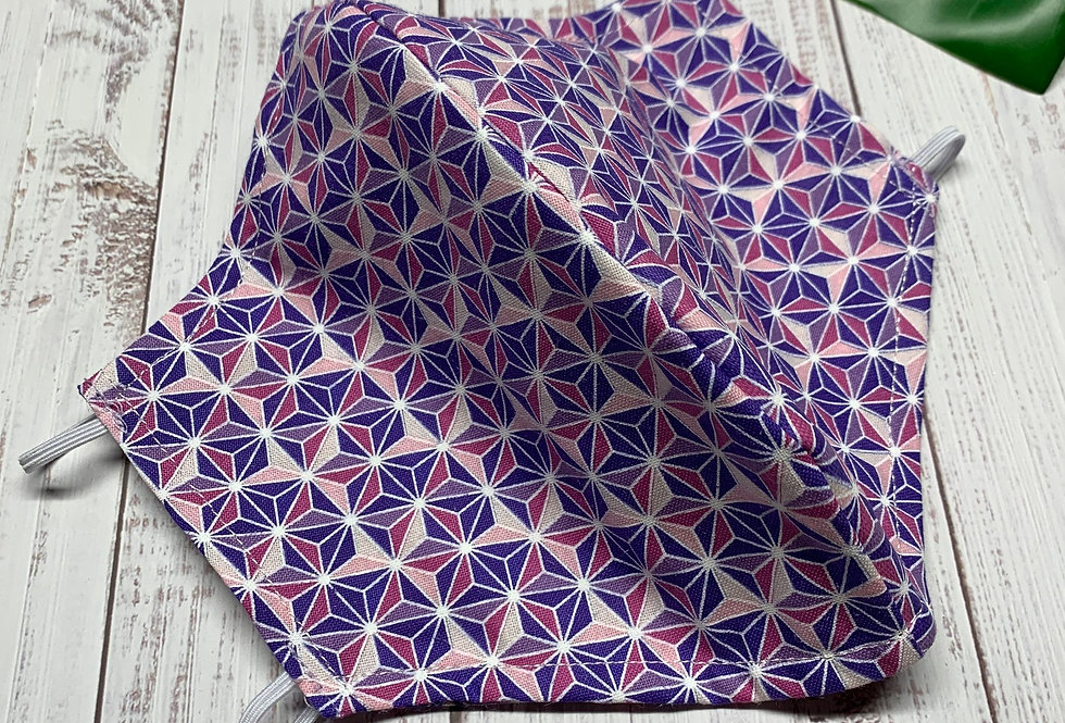 Purple and Blue Star Face Mask With Filter Pocket and Nose wire, Reusable Face M