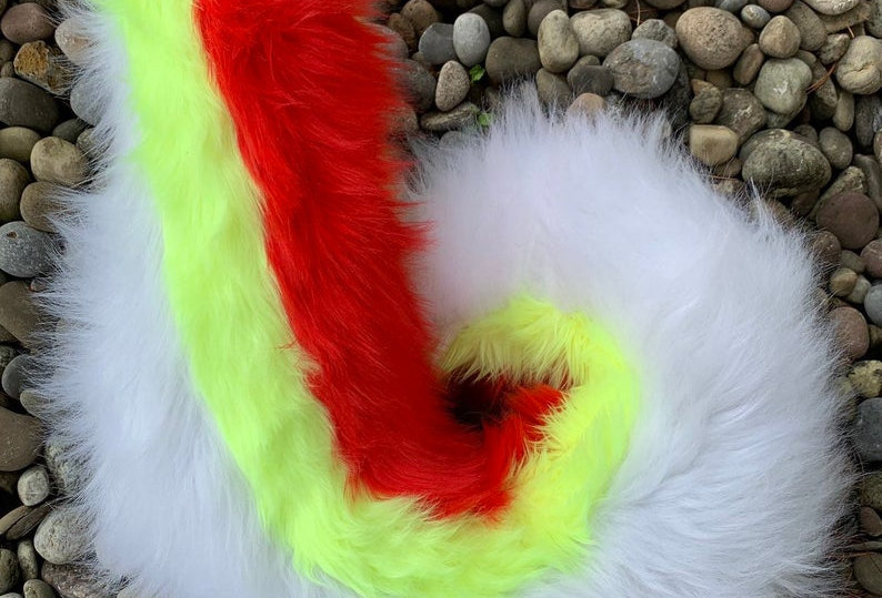 Glowing Yellow and Red Curly Husky Fursuit Tail