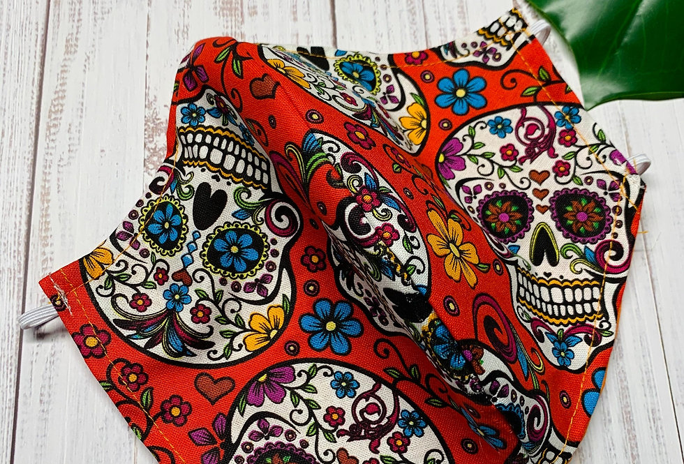 Red Sugar Skull Face Mask, Reusable Cotton Face Mask
