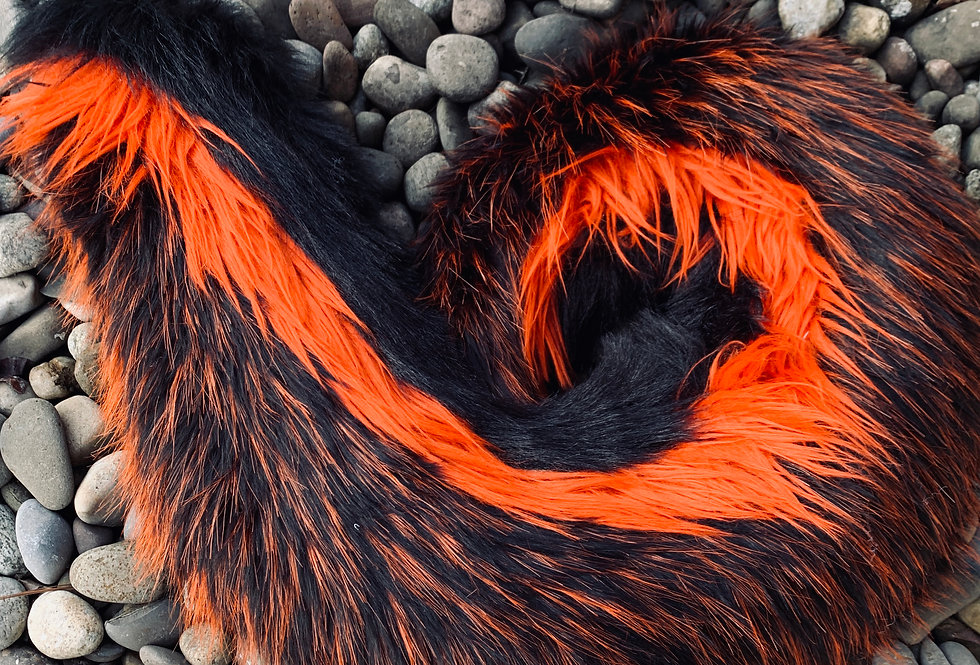 Black and Orange Curly Husky Fursuit Tail