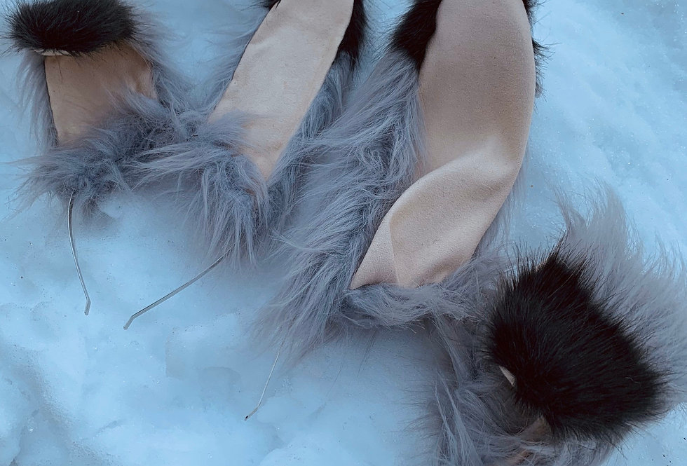 Gray Bunny Ears and Tail Set