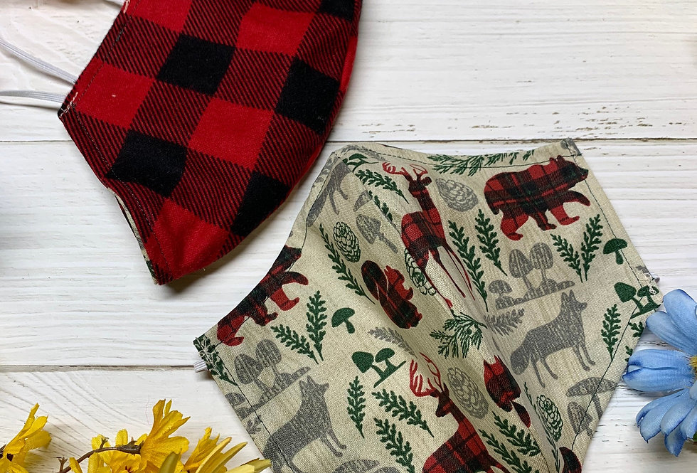 Plaid Woodland Creatures Face Mask With Filter Pocket and Nose Wire, Reusable Wa