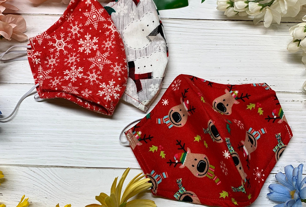 Holiday Deer Flannel Face Mask with filter pocket and nose wire, Christmas Winte