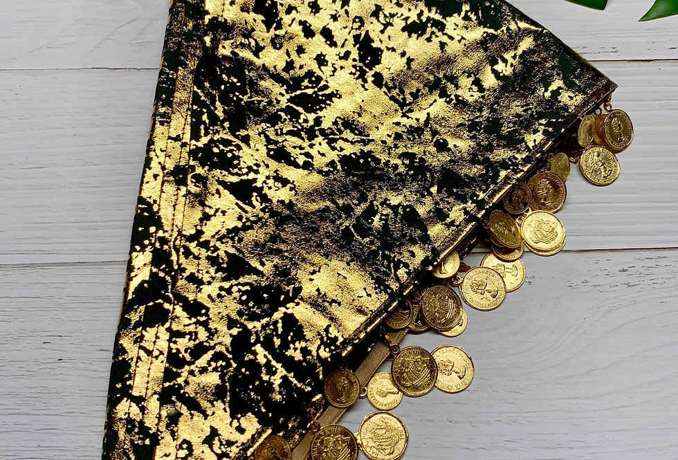 Gold Fursuit Bandana with gold coin fringe, Furry accessories