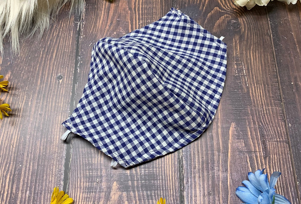 Blue and White Gingham Plaid Face Mask With Filter Pocket and Nose Wire, Washabl