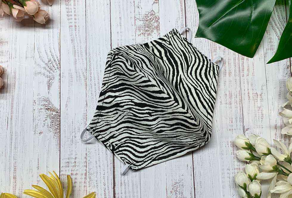 Zebra Animal Print Face Mask With Filter Pocket and Nose Wire, Washable Cotton F