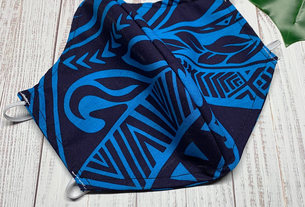 Blue Hawaiian Face Mask with filter pocket and nose wire, 3d Cotton Face Mask, R