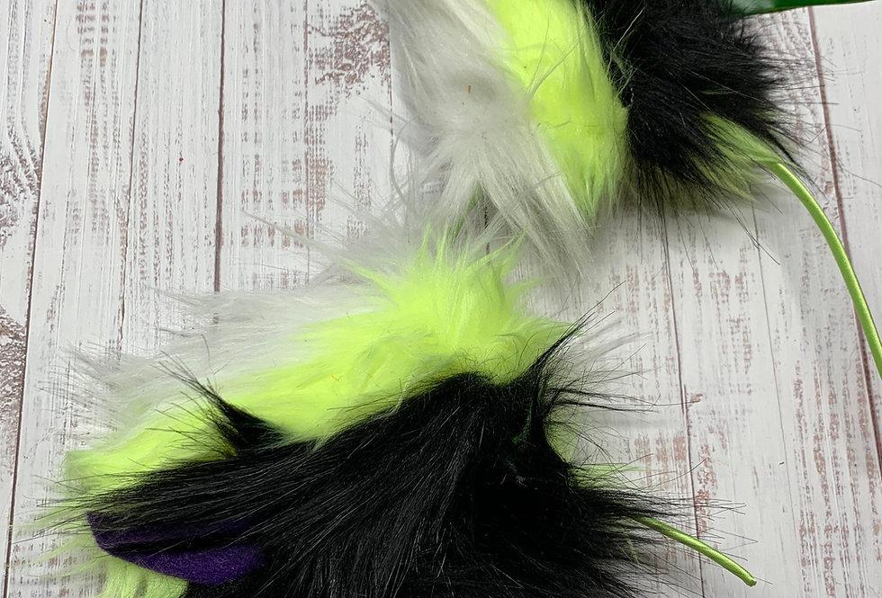 Neon Yellow and White Fox Ears