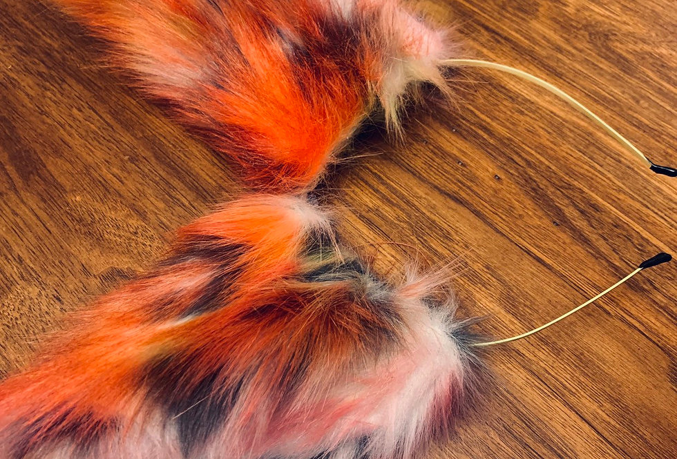 Red and Orange Cat Ears