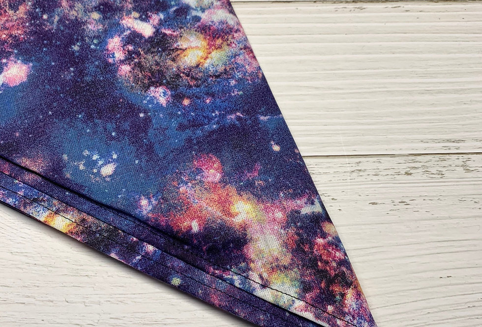 Galaxy Space Fursuit Bandana with gold coin fringe