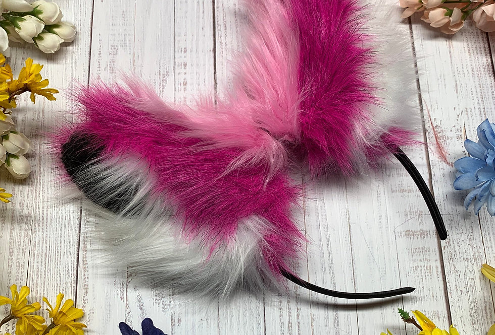 Hot pink and White Love Struck Kitten Ears