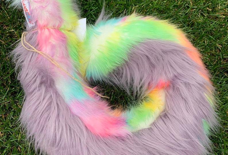 Rainbow and Taro Purple Curly Husky Tail