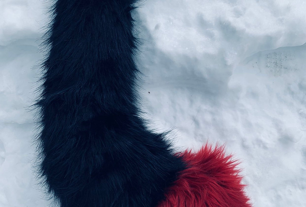 Black and Maroon Red Fox Tail, Fursuit and Pet Play Accessories, Made to Order F