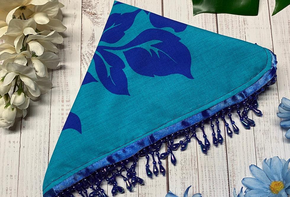 Blue Hawaiian Fursuit Bandana with Crystal Fringe