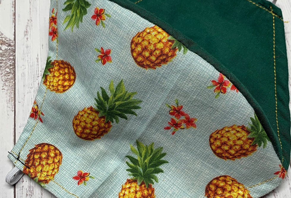 Pineapple Face Mask With Filter Pocket and Nose Wire, Reusable Face Mask, Petite