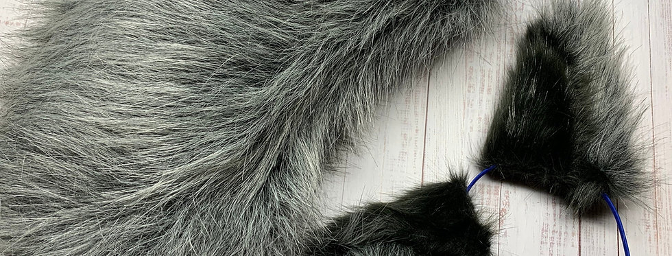 Gray Hyena Tail and  Ears Set