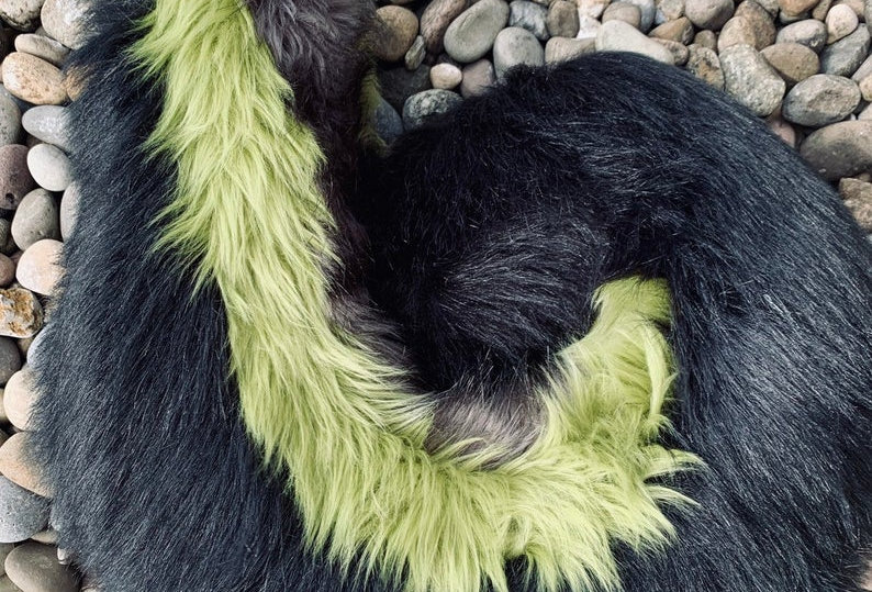 Green, Black, and Gray Curly Husky Fursuit Tail
