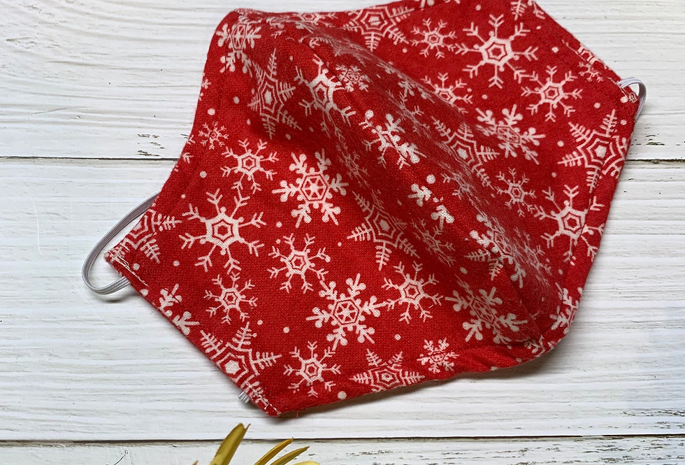 Red and Whit Snowflake Flannel Face Mask with filter pocket and nose wire, Chris