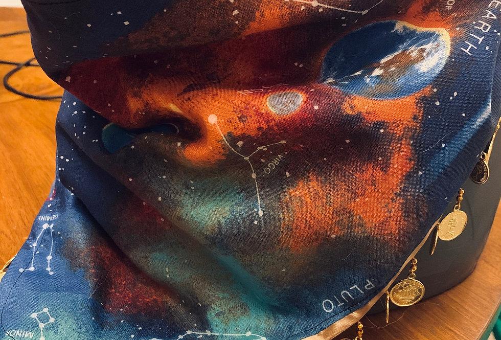 Galaxy Fursuit Bandana with Gold Coin Fringe, Fursuit Accessories, XL