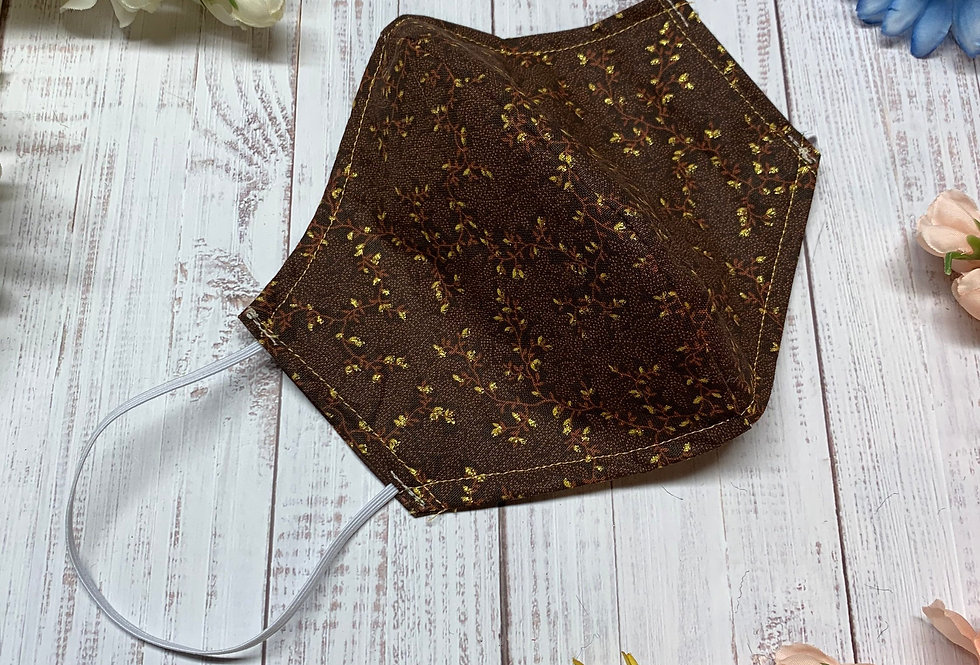 Floral Earthy Brown and Gold Face Mask With Filter Pocket and Nose Wire, Reusabl
