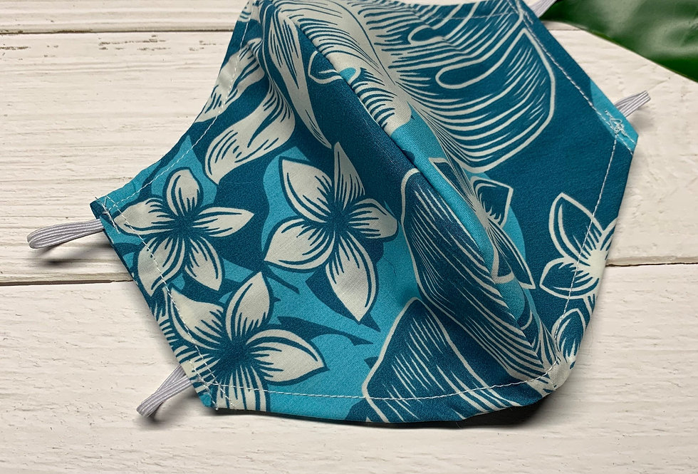 Teal Blue Tropical Face Mask with filter pocket and nose wire,Hawaiian Face Mask