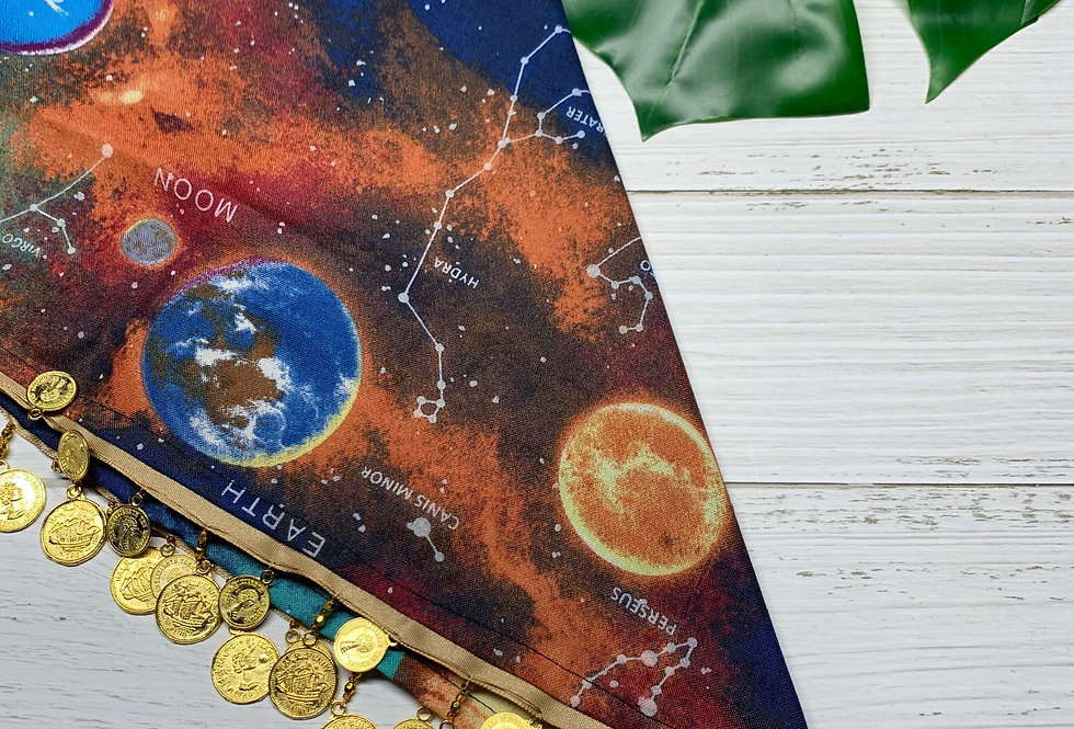 Planets and Space Fursuit Bandana with gold coin fringe