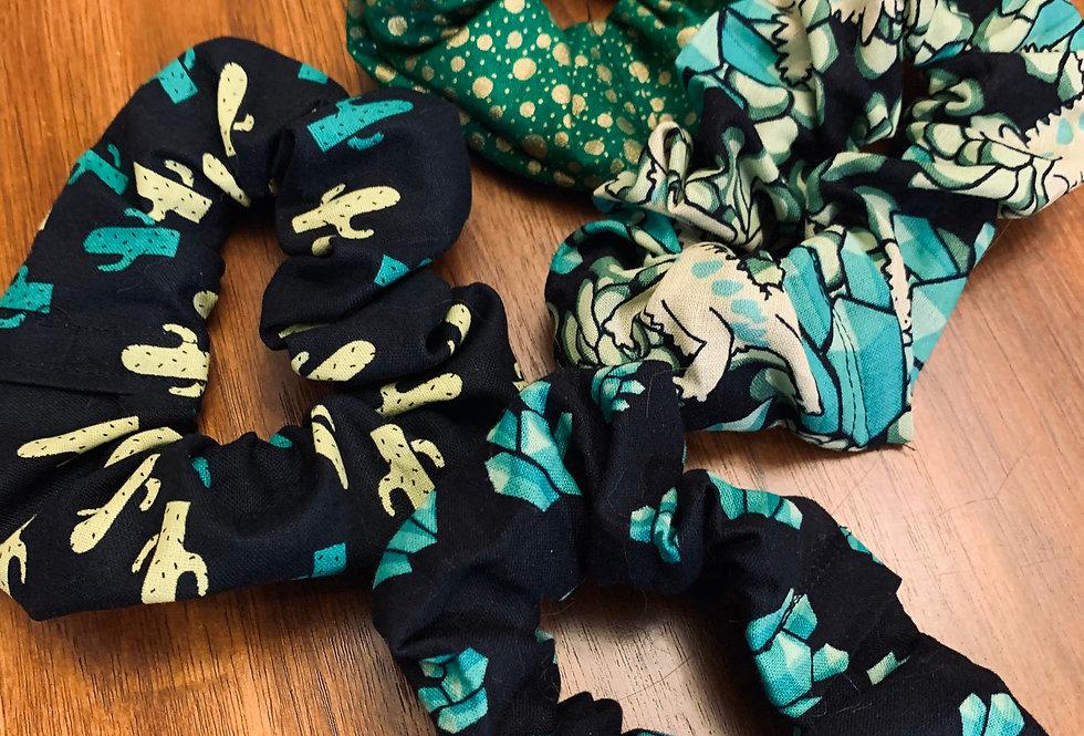 Cute Green and Black Cactus Handmade Scrunchie