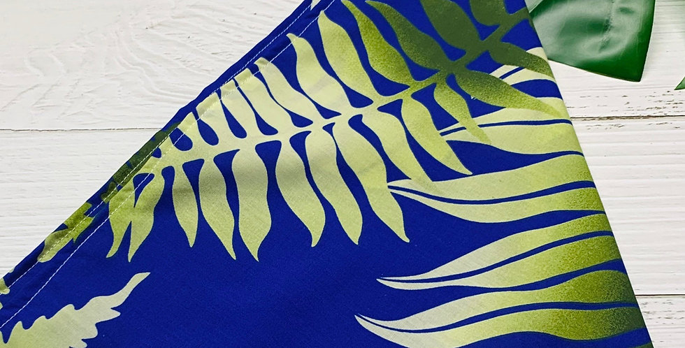 Royal Blue Sea & Green Fursuit Bandana with Fringe, Furry accessories