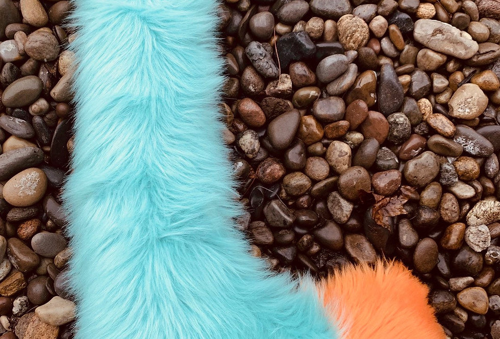 Teal Blue Large Fox Tail with Orange Tip