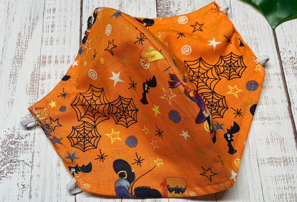 Cartoon Halloween Face Mask With Filter Pocket and Nose Wire, Reusable Cotton Fa