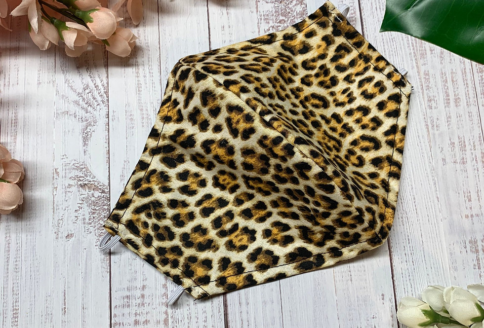 Leopard Animal Print Face Mask With Filter Pocket and Nose Wire, Reusable Cotton