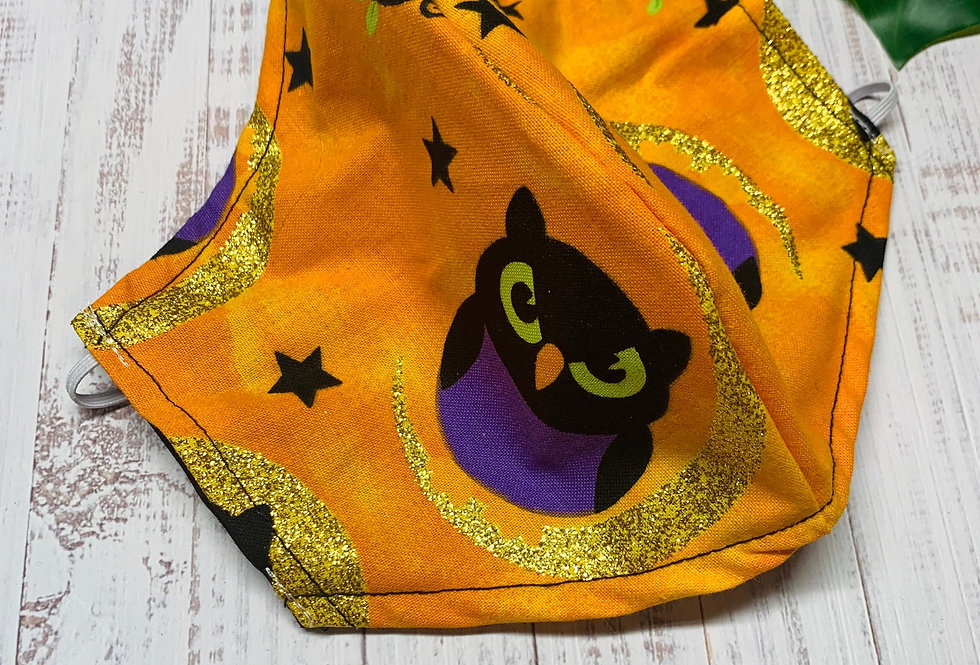 Orange Halloween Owl Face Mask With Filter Pocket and Nose Wire, Washable Cotton