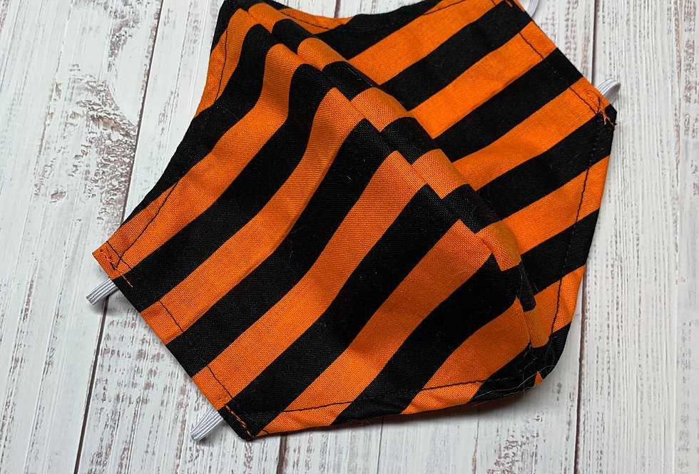 Orange and Black Face Mask With Filter Pocket and Nose Wire, Reusable Cotton Fac
