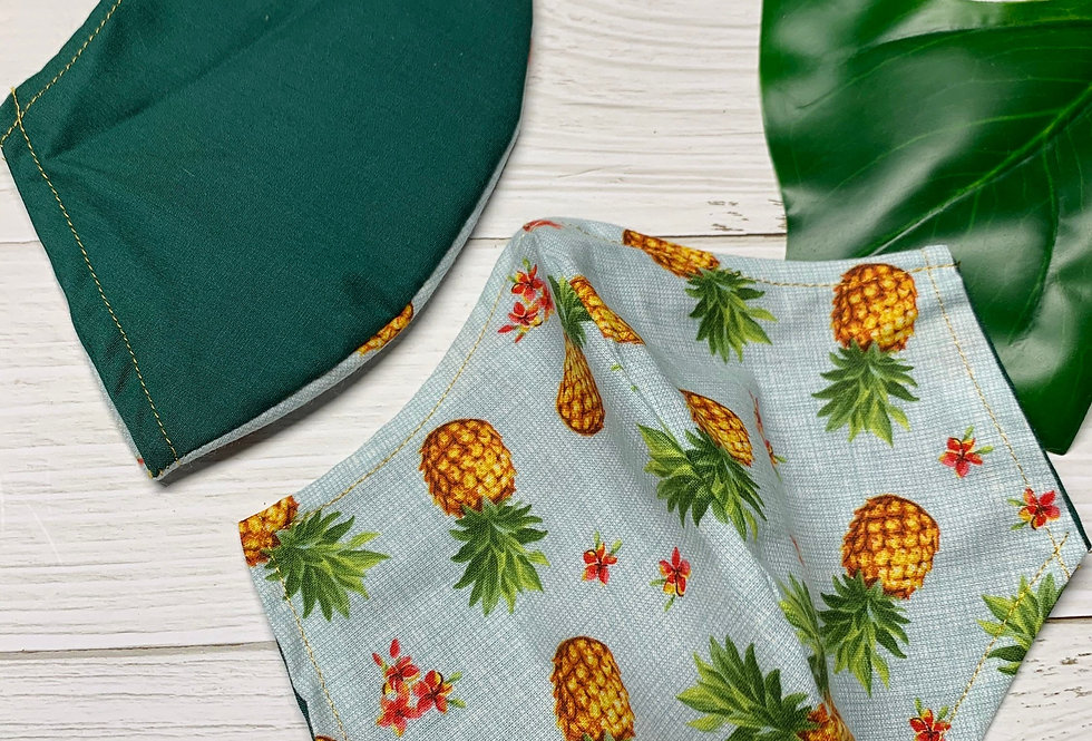 Tropical Pineapple Face Mask With Filter Pocket and Nose Wire, Reusable Cotton F