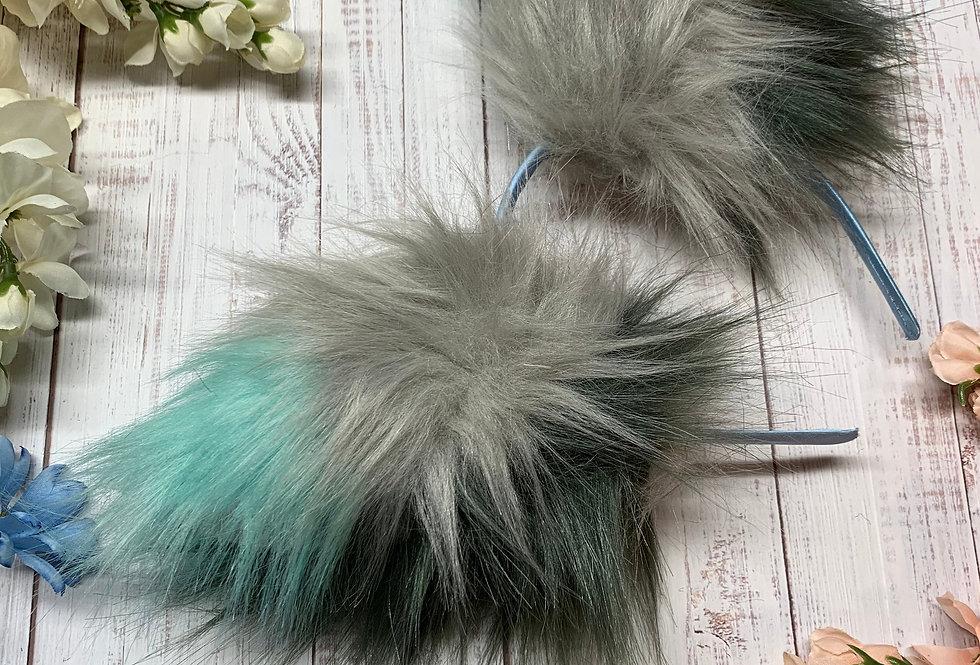 Teal and Gray Fox Ears