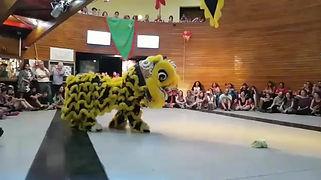 Danza del león para escuela de kungfu fu Sifu Márquez, febrero 2018, Centro cultural Alameda