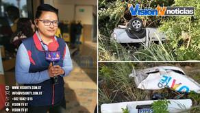 Periodista sololateco que labora en Tv Azteca Guate, sale ileso de accidente de transito