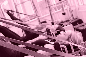 pilates workout on pilates equipment